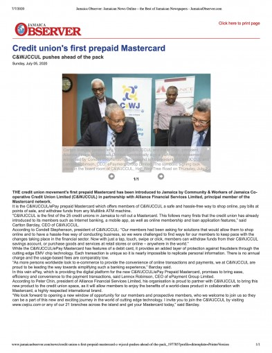 Credit Union's First Prepaid Mastercard