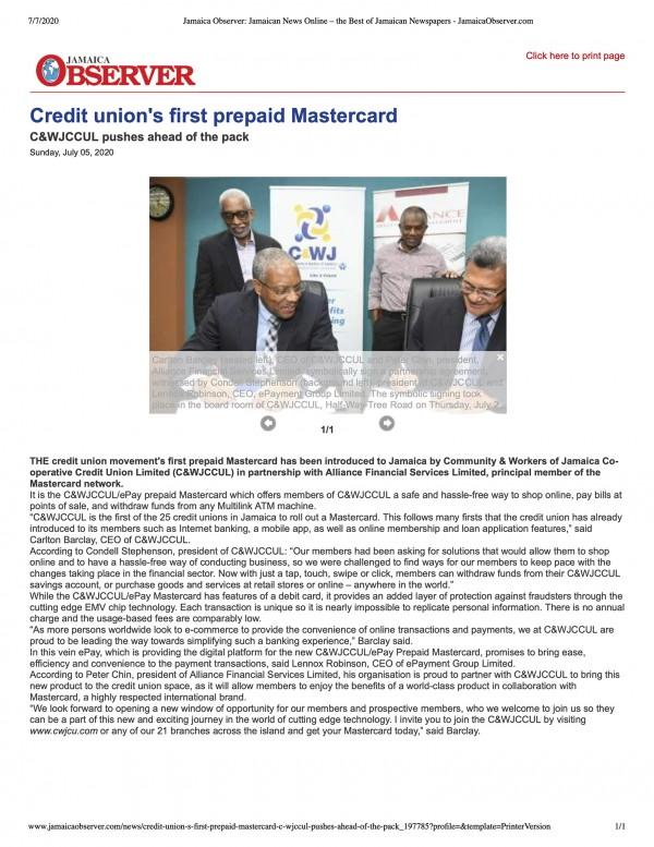 Credit Union's First Prepaid Mastercard